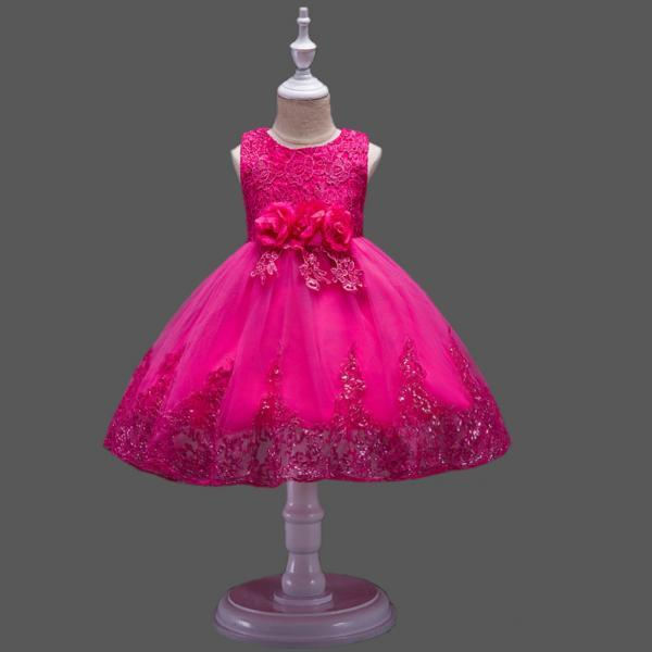 Princess Flower Girl Dress Wedding Party Prom Teens Bridesmaid Kids Clothes Sleeveless Lace Tutu Dress hot pink
