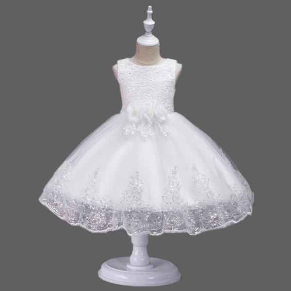 Princess Flower Girl Dress Wedding Party Prom Teens Bridesmaid Kids Clothes Sleeveless Lace Tutu Dress off white