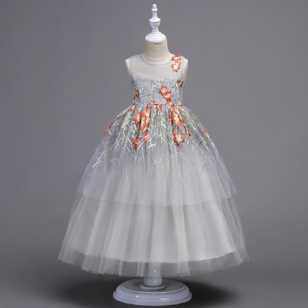 Flower Girls Dress Baby Kids Princess Formal Birthday Pageant Holiday Wedding Bridesmaid Ball Gown Embroidery Teenager Children Clothes red