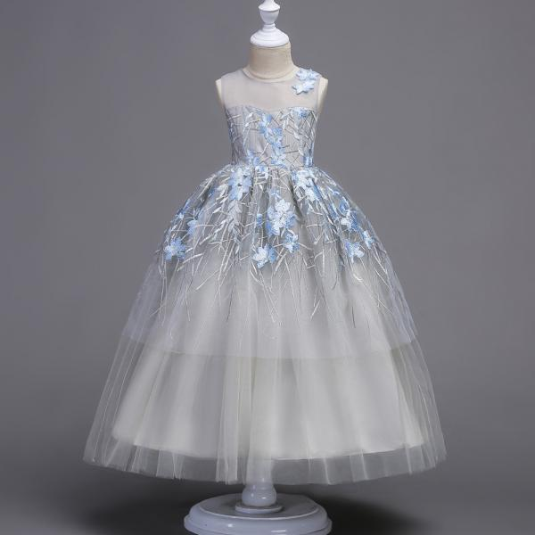 Flower Girls Dress Baby Kids Princess Formal Birthday Pageant Holiday Wedding Bridesmaid Ball Gown Embroidery Teenager Children Clothes sky blue