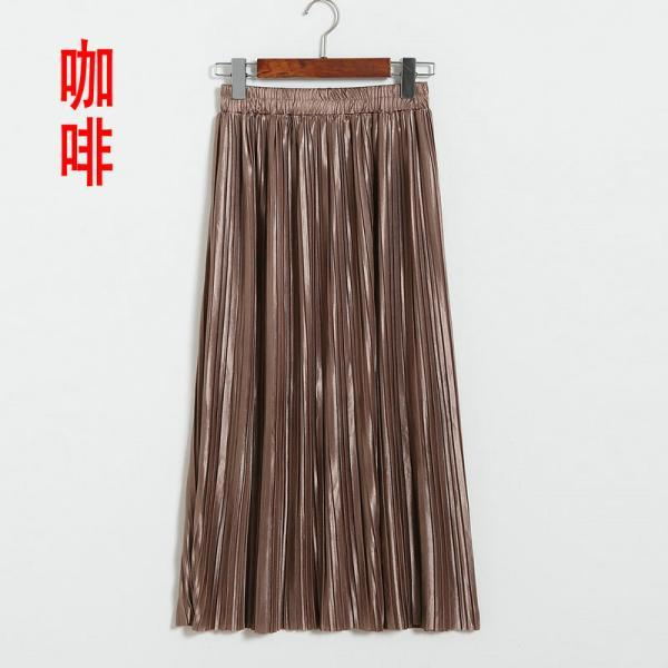 Brown Metallic Elasticised High Rise Midi A-Line Skirt