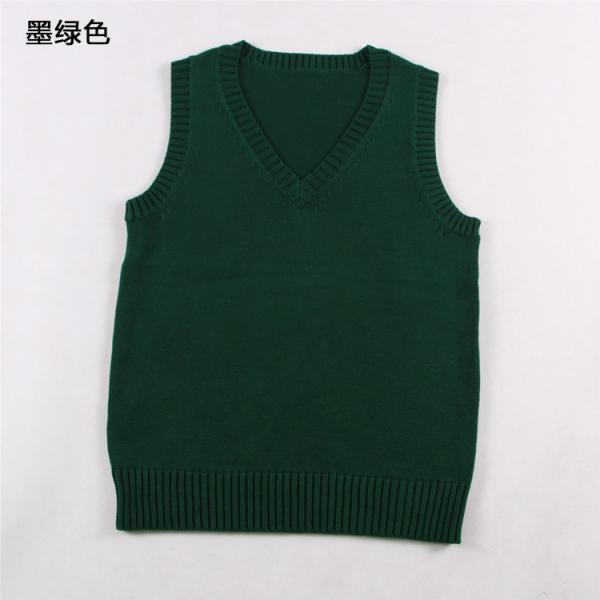 Japanese School Student JK Uniform Vest Girls Sleeveless V-Neck Sailor Knited Sweater Anime Love Live K-on Cosplay hunter green