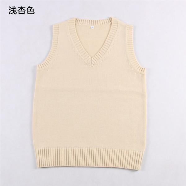 Japanese School Student JK Uniform Vest Girls Sleeveless V-Neck Sailor Knited Sweater Anime Love Live K-on Cosplay apricot