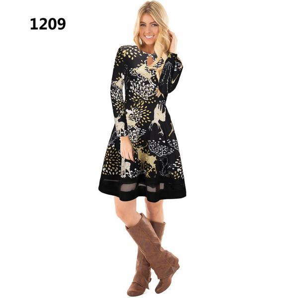 Women Christmas Floral Print Dress Long Sleeve O-Neck Mesh Patchwork Hollow Out A Line Party Dress 1209