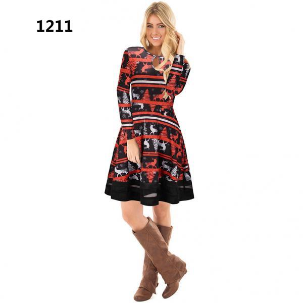 Women Christmas Floral Print Dress Long Sleeve O-Neck Mesh Patchwork Hollow Out A Line Party Dress 1211