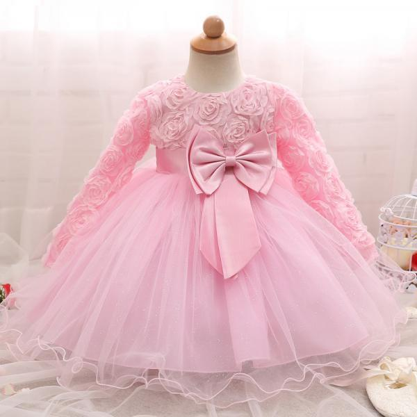Toddler Girl Dress Newborn Baby Kids Lace Long Sleeve Infant Ball Gown Flower Girl Dress Bow Children Clothes pink