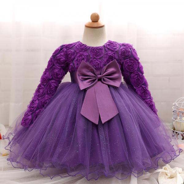 Toddler Girl Dress Newborn Baby Kids Lace Long Sleeve Infant Ball Gown Flower Girl Dress Bow Children Clothes purple