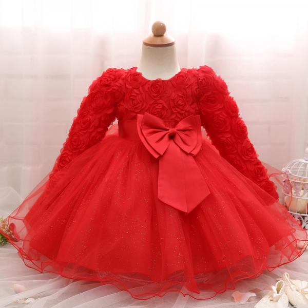 Toddler Girl Dress Newborn Baby Kids Lace Long Sleeve Infant Ball Gown Flower Girl Dress Bow Children Clothes
