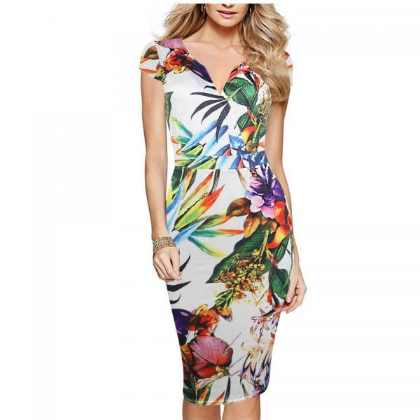 Vintage Floral Printed Pencil Dress Women Puff Short Sleeve V Neck Pocket Casual Work Party Bodycon Dress 7#