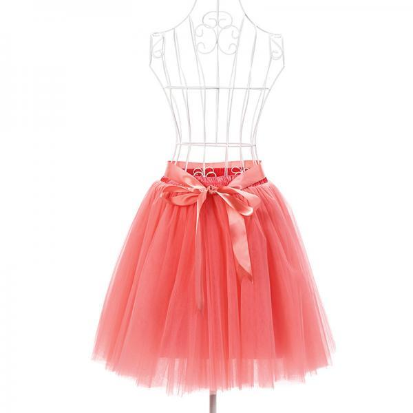 6 Layers Tulle Midi Lolita Skirt Women Adult Tutu Skirt American Apparel Wedding Bridesmaid Party Petticoat watermelon red