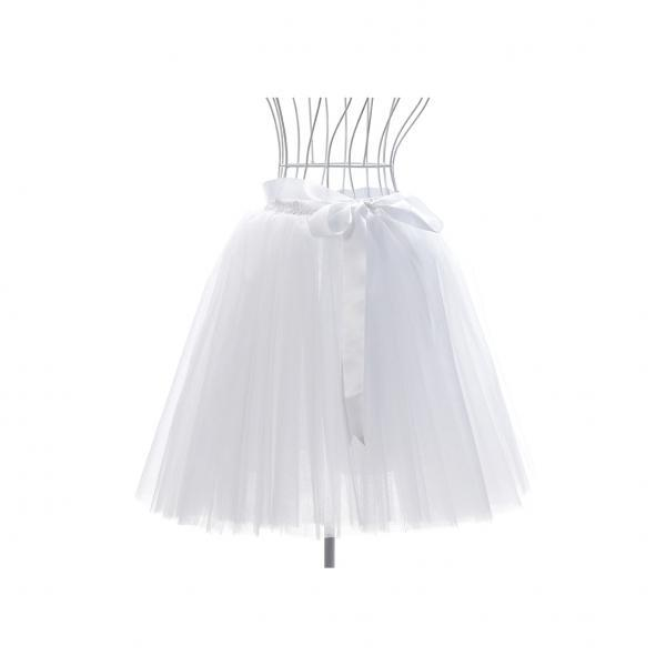 6 Layers Tulle Midi Lolita Skirt Women Adult Tutu Skirt American Apparel Wedding Bridesmaid Party Petticoat white