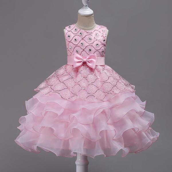 Sequined Lace Flower Girl Dress Princess Children Clothes Wedding Birthday Party Prom Gowns pink
