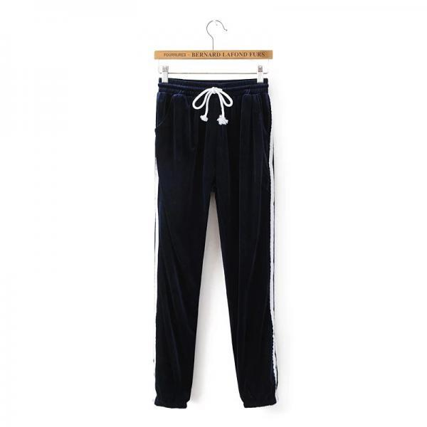 Sweatpants Women Sport Pants Joggers Casual Harlan Yoga Gym Side Striped Pleuche Drawstring High Waist Lady Femme Trousers navy blue