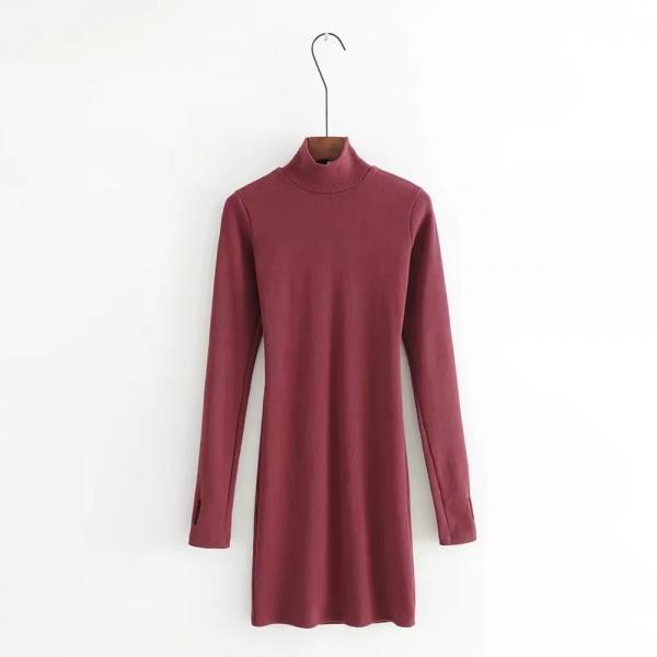 Long Sleeve Mini Dress Sexy Slim Sheath Bodycon High Neck Women Cocktail Club Party Dress burgundy