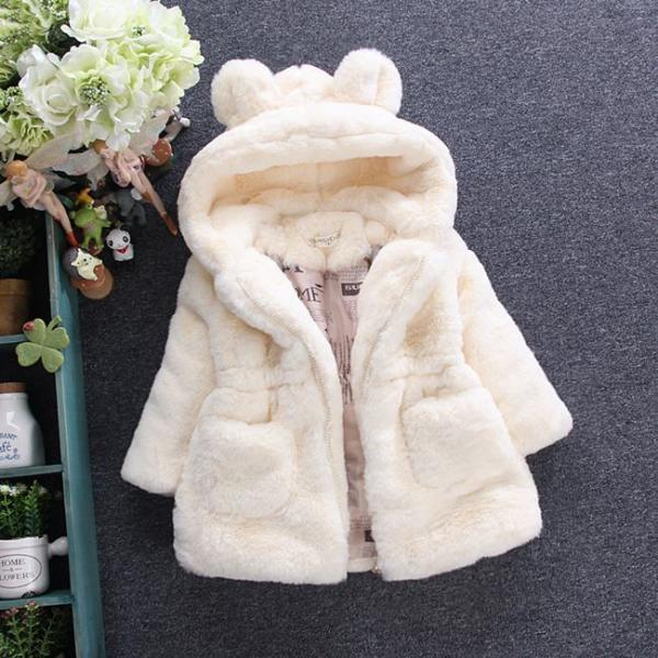 Cold Winter Baby Girls Clothes Faux Fur infant Coat Rabbit Ears Warm kids Jacket Snowsuit Outerwear off white