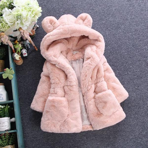 Cold Winter Baby Girls Clothes Faux Fur infant Coat Rabbit Ears Warm kids Jacket Snowsuit Outerwear pink