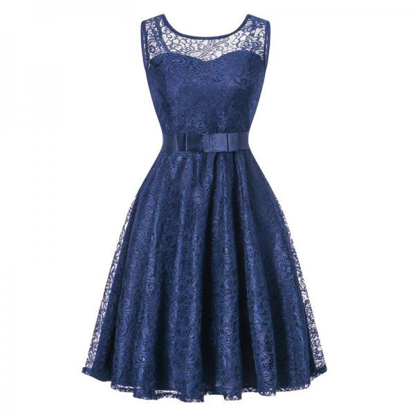 Vintage Lace Dress Sleeveless Belted Tunic Hepburn Women Cocktail Party Swing Dress navy blue