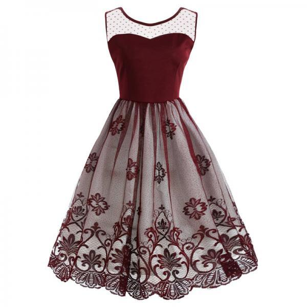 Vintage Mesh Floral Patchwork Dress Women Sleeveless A Line Cocktail Work Party Dress burgundy