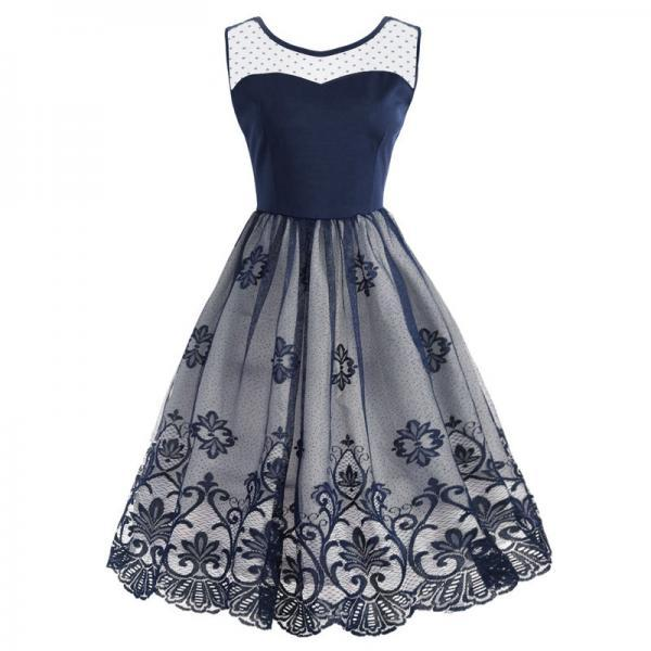 Vintage Mesh Floral Patchwork Dress Women Sleeveless A Line Cocktail Work Party Dress navy blue