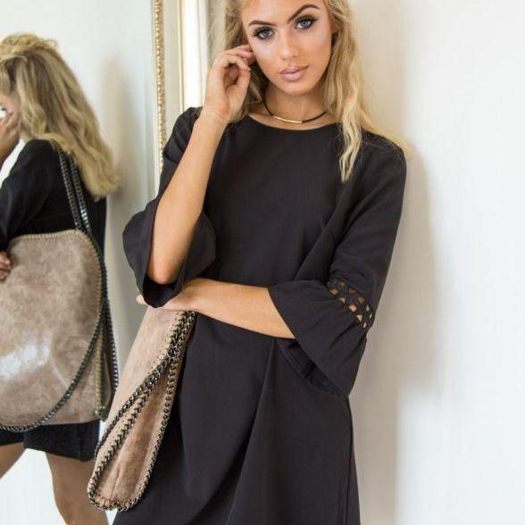 Black O-Neck Casual Short Shift Dress with 3/4 Sleeves and Lace Hollow Out