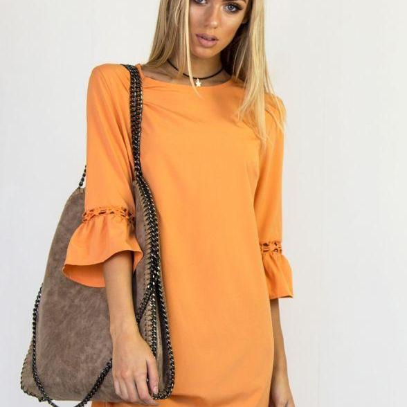 Orange O-Neck Casual Short Shift Dress with 3/4 Sleeves and Lace Hollow Out