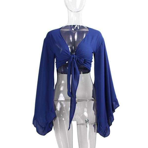 Sexy V Neck Bow Tie Short Cross Tops Women Summer Chiffon Long Sleeve Cropped Tee Shirt royal blue