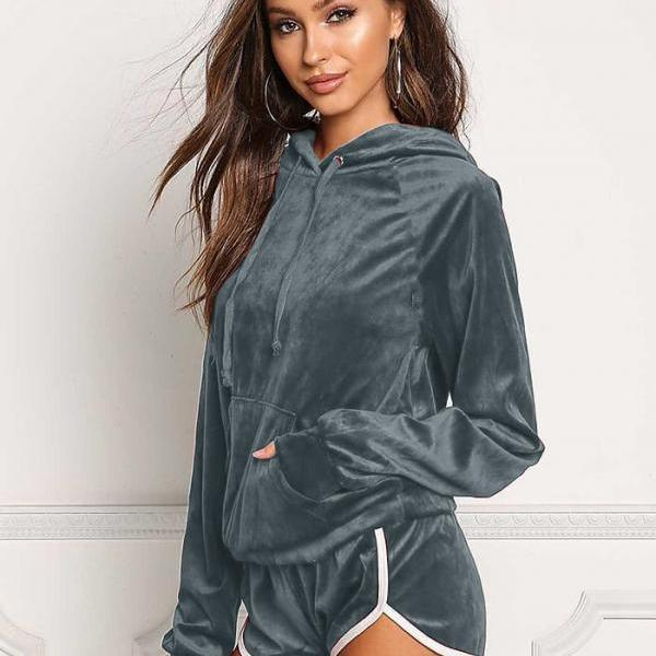 Spring Autumn Women Tracksuits Casual Long Sleeve Hooded Sweatshirt+Shorts Two Piece Sets Sportswears blue-gray