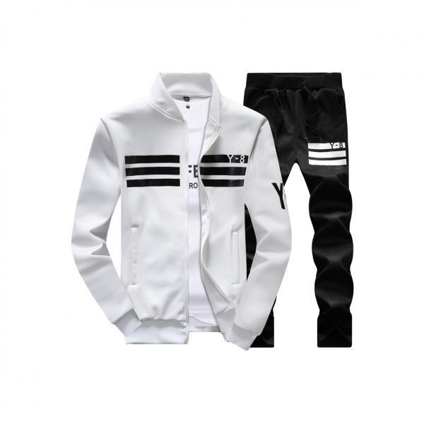 Mens Tracksuit Set Plus Size Stand Collar Men Sportswear Casual Sets Fitness Clothing off white