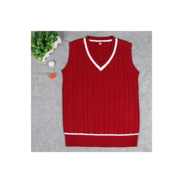 British Preppy Sleeveless Sweater Shool Uniforms V-neck Japanese Boys And Girls Students Knitted Vest red