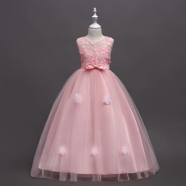 Long Flower Girl Dress Teen Kids Formal Party Wedding Birthday Gown Children Clothes pink