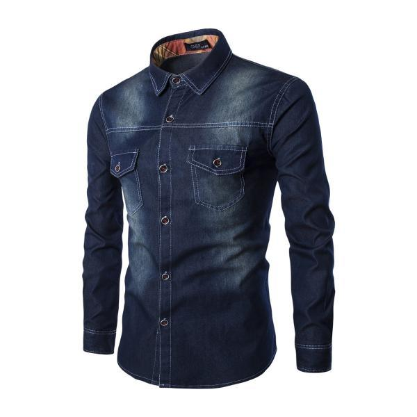 Mens Denim Shirt Cotton Two Pockets Male Long Sleeve Slim Fit Casual Jeans Shirt M-6xl black