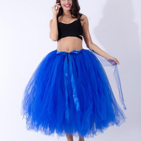 Women Puffy Tutu Skirts Long Tea Length Tulle Skirt Wedding Bridesmaid Lolita Under skirt royal blue