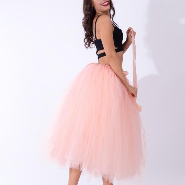 Women Puffy Tutu Skirts Long Tea Length Tulle Skirt Wedding Bridesmaid Lolita Under skirt salmon