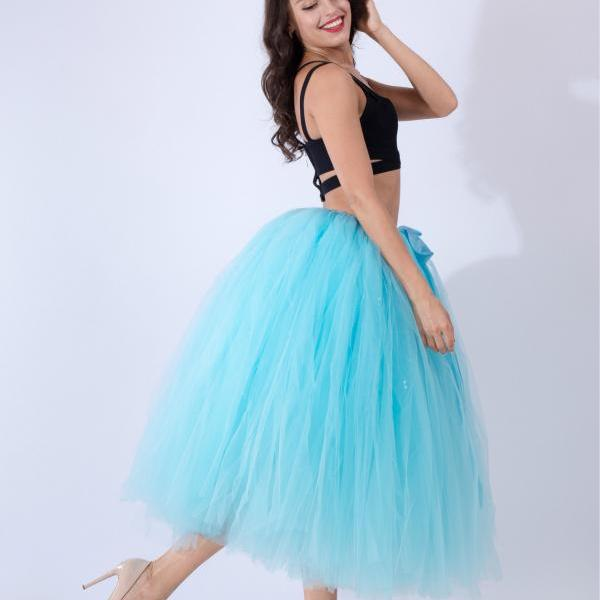 Women Puffy Tutu Skirts Long Tea Length Tulle Skirt Wedding Bridesmaid Lolita Under skirt sky blue
