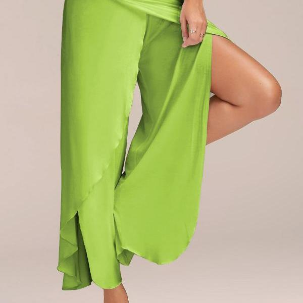 1 Piece Women High Split Trousers Female Loose Yoga Sport Wide Leg Pants light green