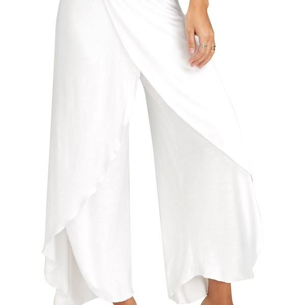 1 Piece Women High Split Trousers Female Loose Yoga Sport Wide Leg Pants off white