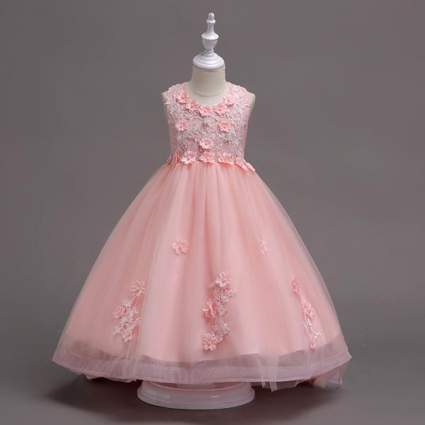 Pretty Lace High Low Flower Girl Dress Applique Wedding Holy Communion Party Gown Children Clothes pink