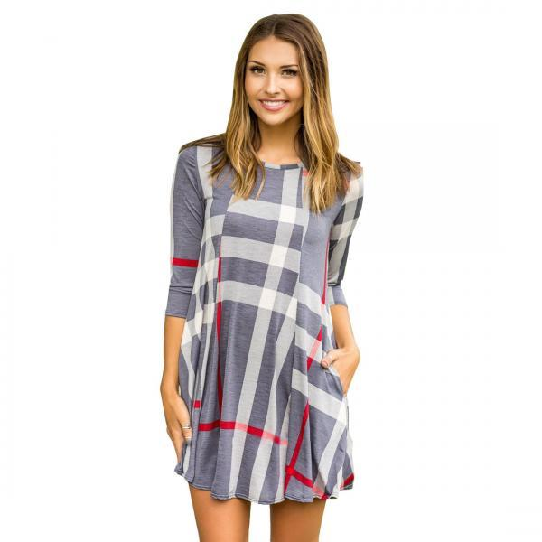 Women Plaid Casual Dress Spring Autumn 3/4 Sleeve Pockets Mini Holiday A Line Dress blue