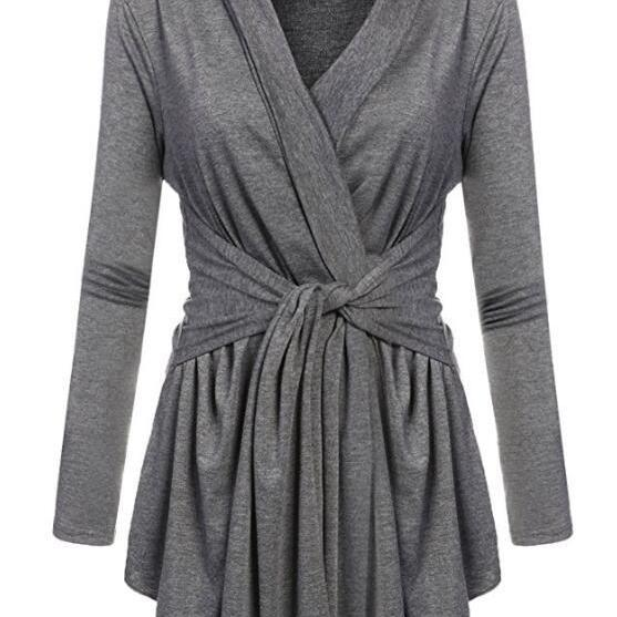 Women V-Neck Tunic Soft Tops Asymmetrical Hem Long Sleeve Casual Shirt Solid Female Blouse gray
