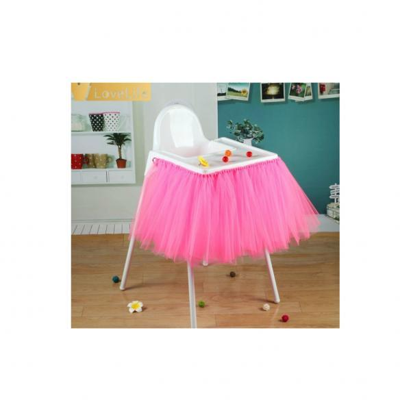 Tutu Tulle Table Skirts High Chair Decor Baby Shower Decorations for Boys Girls Party Set Birthday Party Supplies deep pink