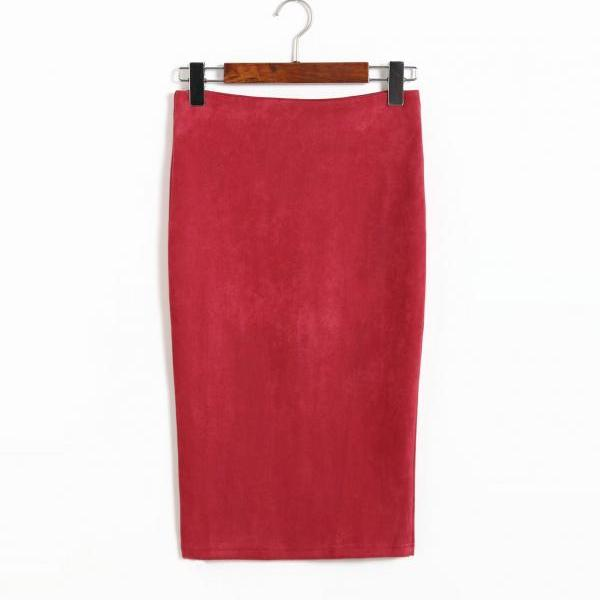 Spring Faux Suede Pencil Skirt High Waist Split Stretchy Bodycon Midi Skirt red