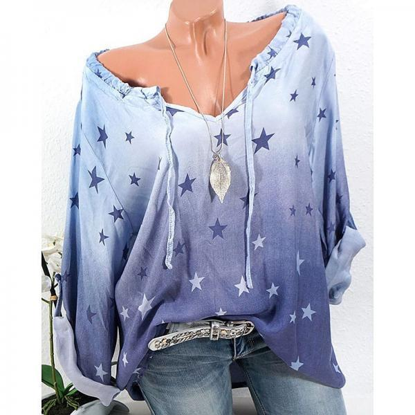 Spring Autumn Women Long Sleeve T-Shirt Star Printed Top Blouse Girls Loose Casual Shirt blue