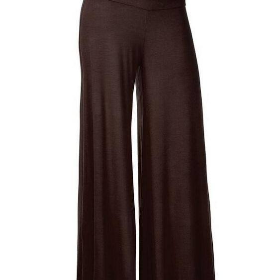 Women Slim Flare Pants High Waist Long Trousers Casual Office Work Wide Leg Trousers brown