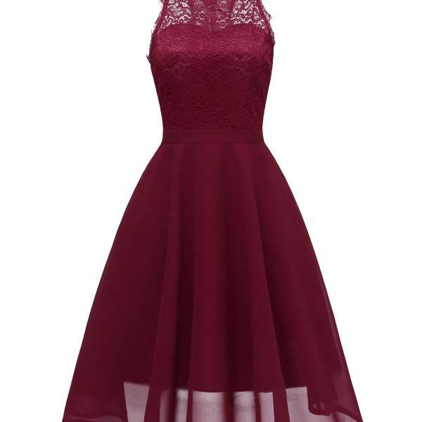 Women Casual Summer Dress Sleeveless O Neck Lace Patchwork A Line Cocktail Party Dress burgundy