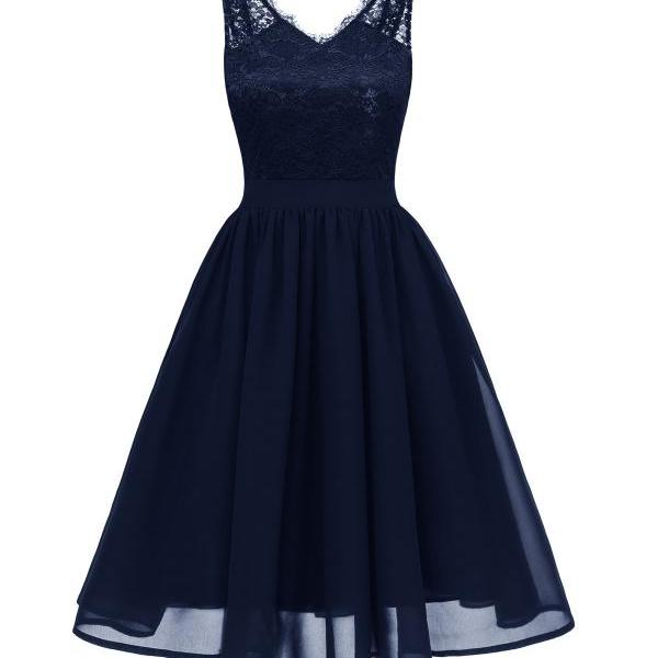 Women Summer Casual Dress V Neck Backless Lace Patchwork A Line Cocktail Party Dress navy blue