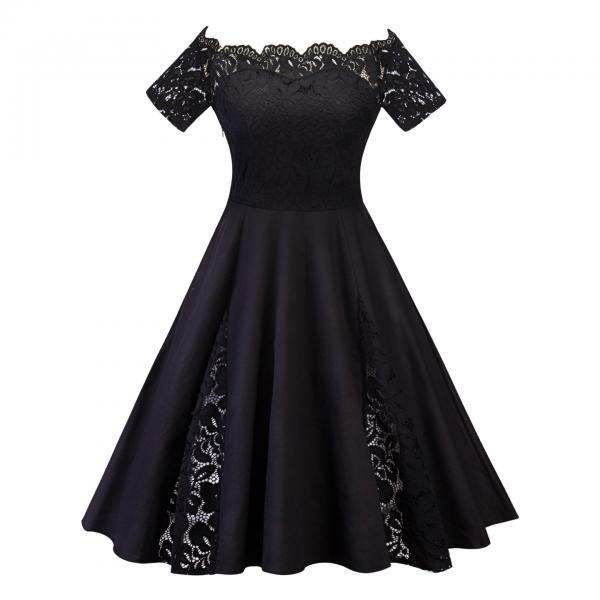 Off The Shoulder Women Dress Plus Size Lace Patchwork Short Sleeve Cocktail Party Dress black