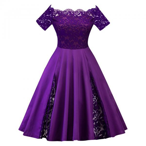 Off The Shoulder Women Dress Plus Size Lace Patchwork Short Sleeve Cocktail Party Dress purple
