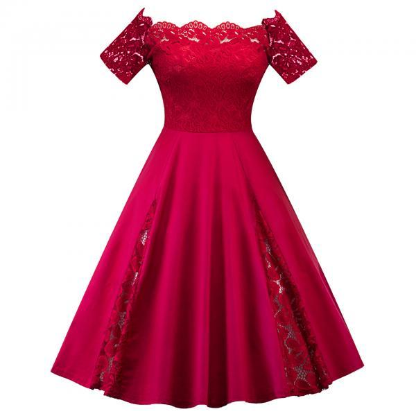 Off The Shoulder Women Dress Plus Size Lace Patchwork Short Sleeve Cocktail Party Dress red