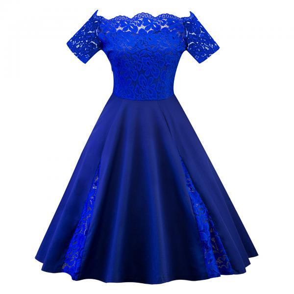 Off The Shoulder Women Dress Plus Size Lace Patchwork Short Sleeve Cocktail Party Dress royal blue