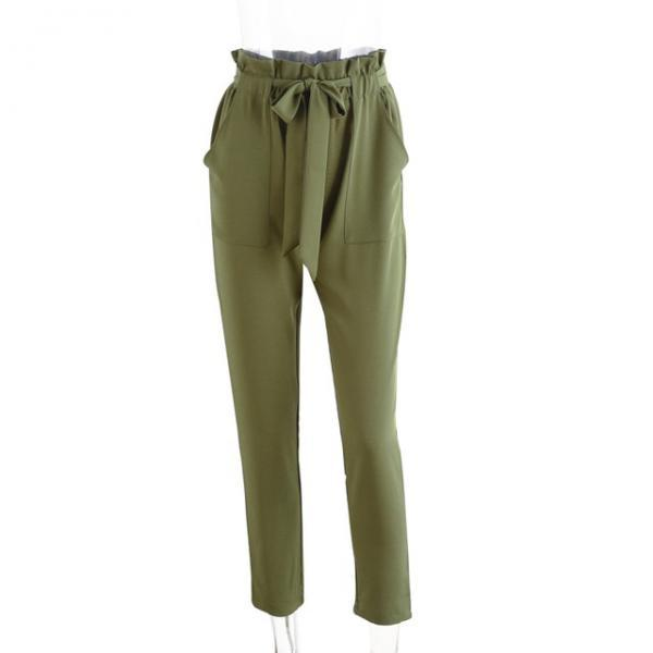 Women OL High Waist Harem Pants Stringyselvedge Summer Style Work Office Casual Trousers army green
